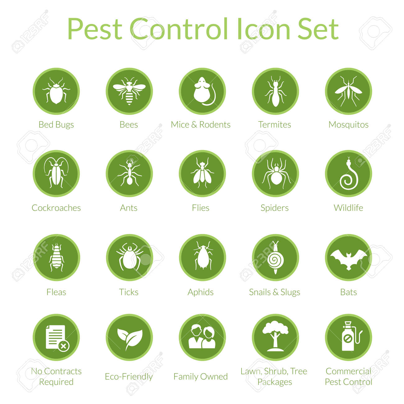 Vector icon set with insects like flies, cockroaches, bed bugs, spiders and termites for pest control companies - 44964098