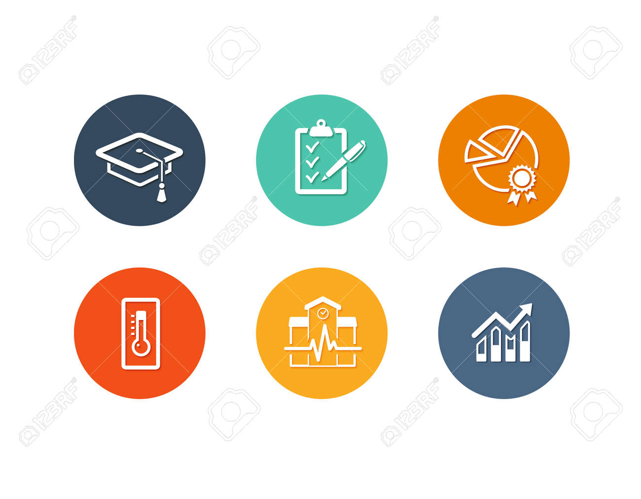 Vector set of flat icons for academy or school education such as exam, graduation and quality assurance and statistics - 47528446