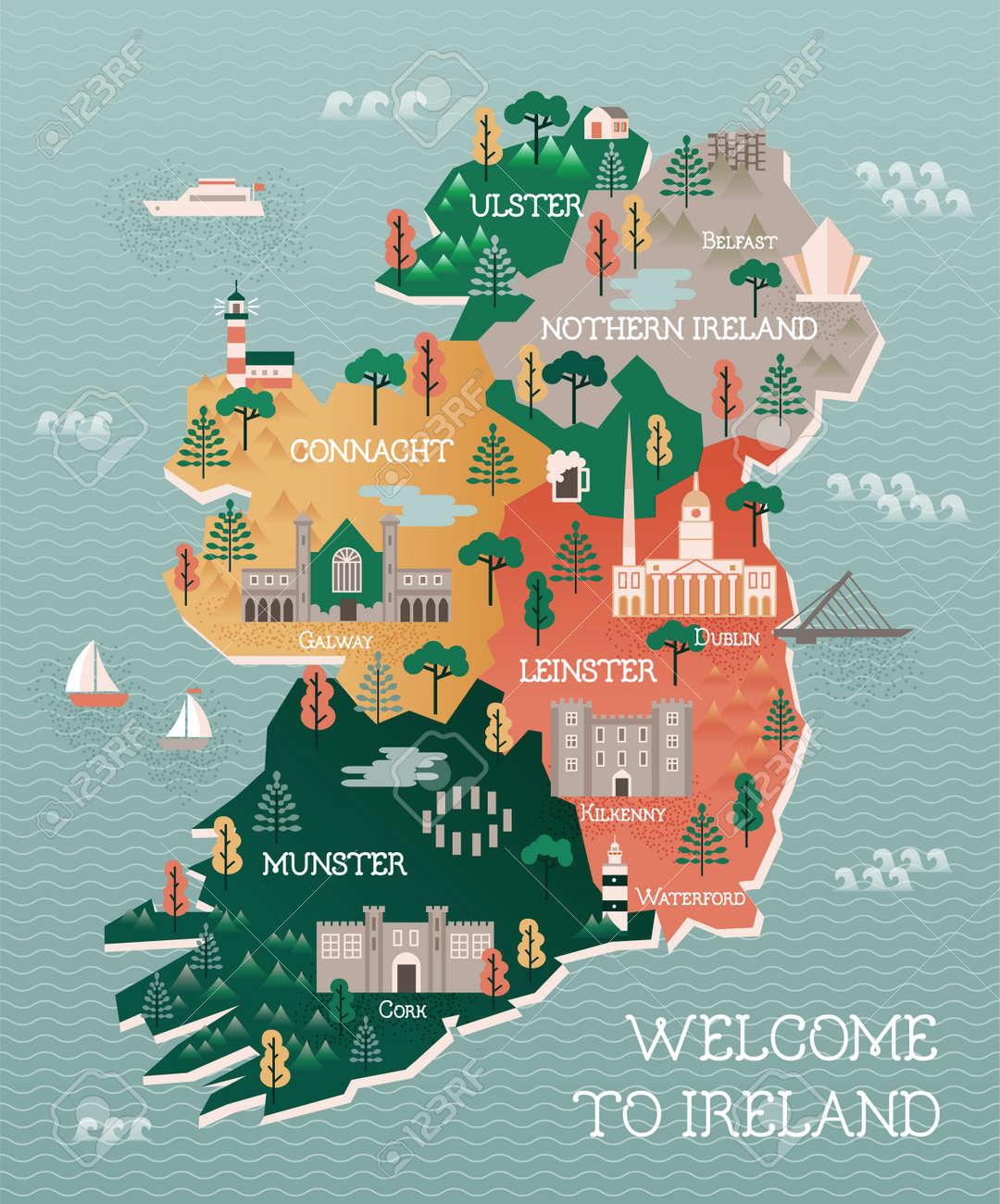 Flat Illustration With Stylized Travel Map Of Ireland The Landmarks