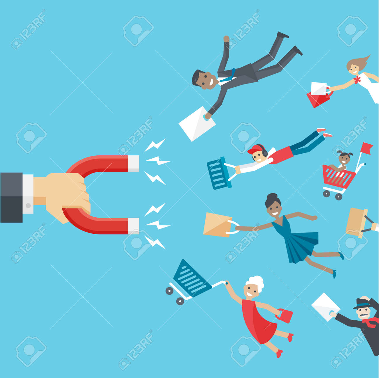 business conceptual background in flat style. The hand of businessman holding magnet and attracts happy customers or clients of different age and race to the business. - 50634846