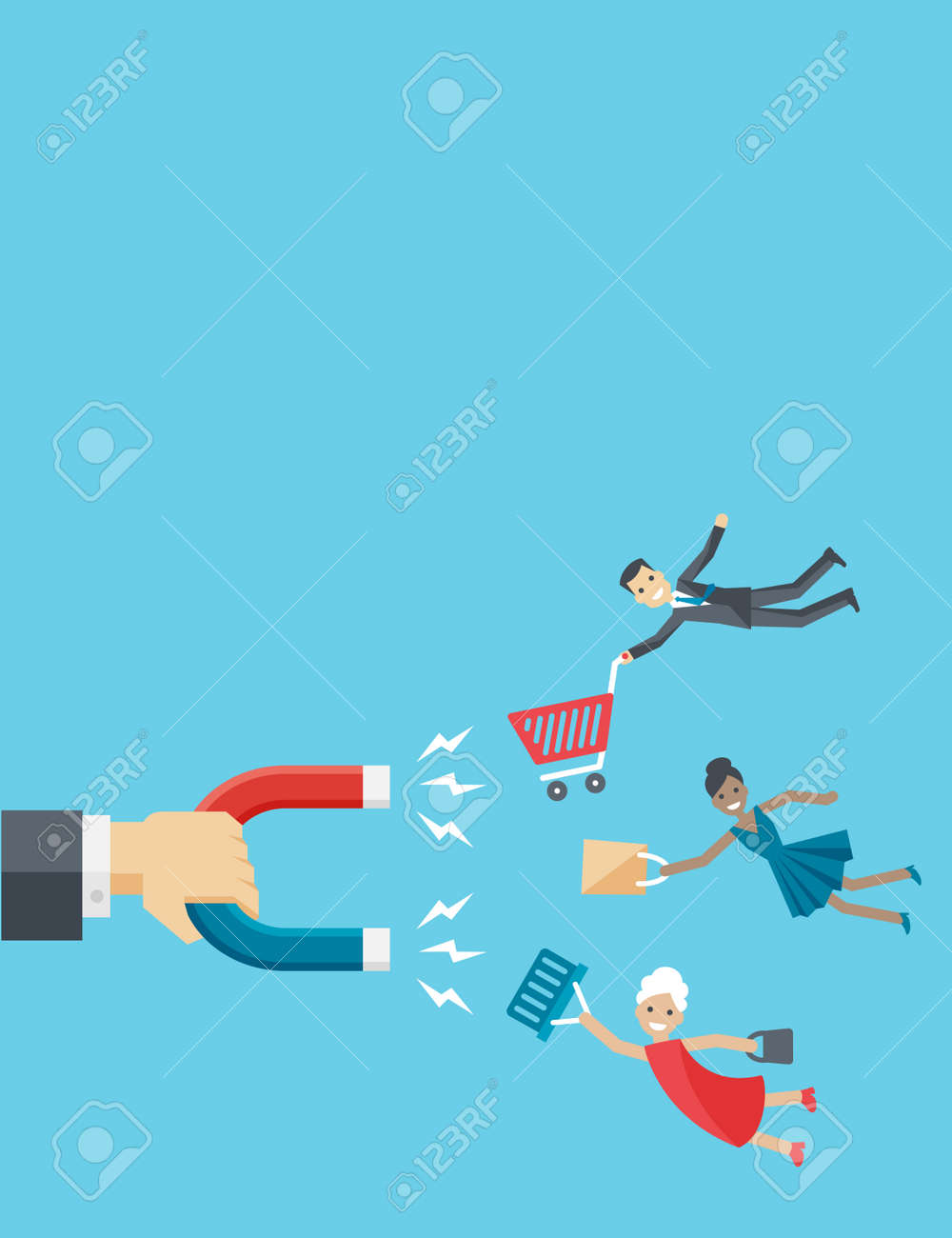 Vector illustration of business vertical background in flat style. The hand of businessman holds magnet attracting happy customers or clients like man, woman and senior. - 51621999