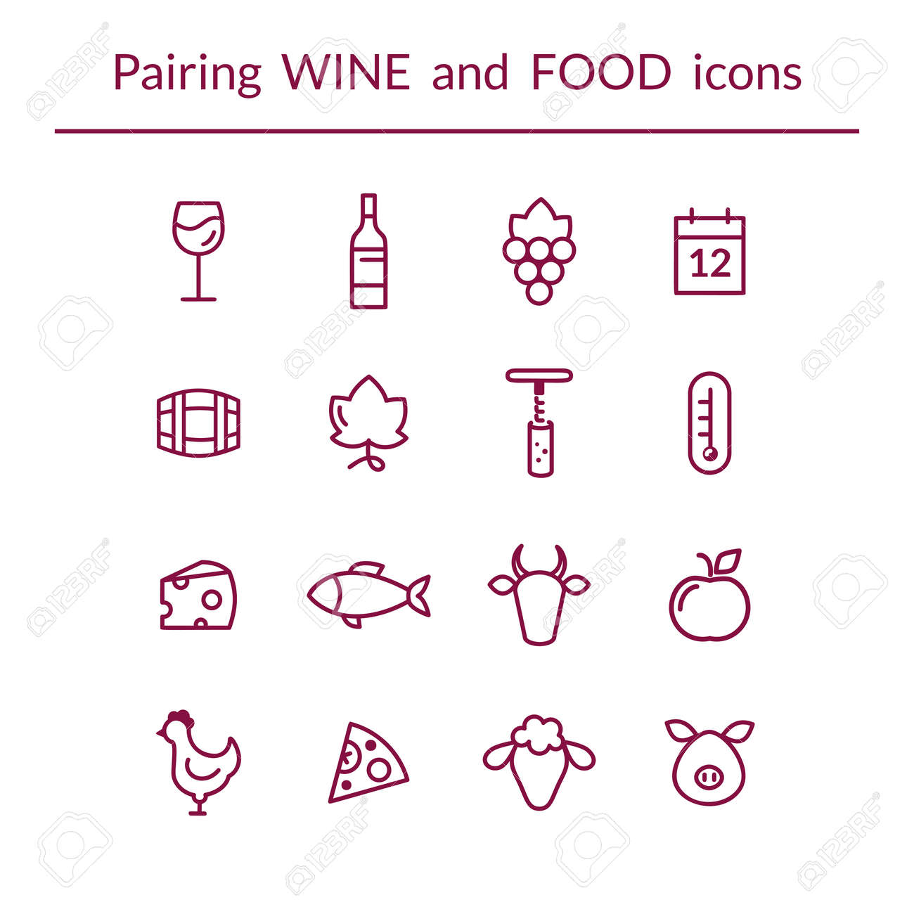 Vector set of line icons for wine and food pairing such as cheese vector set of line icons for wine and food pairing such as cheese fish biocorpaavc Gallery