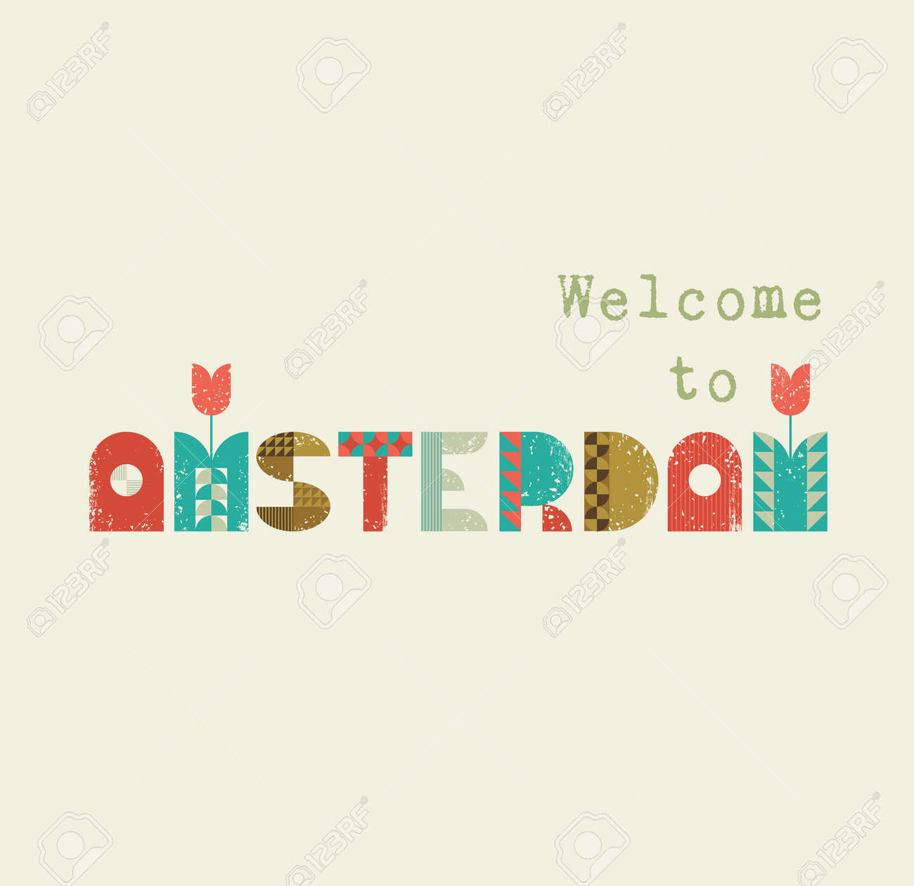104 welcome to amsterdam stock illustrations cliparts and royalty vector greeting card with text welcome to amsterdam vintage lettering with symbols of holland tulips buycottarizona Gallery