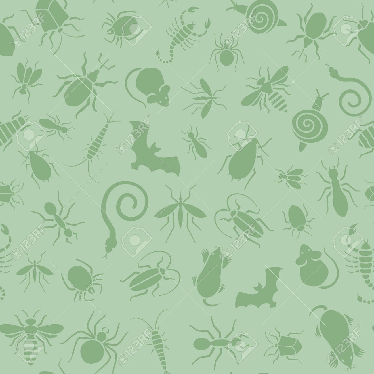 Vector green seamless pattern or background for website of different insects like scorpions, bed bugs and termites for pest control companies. Included some animals like bats, moles, mice and snakes. - 53434569