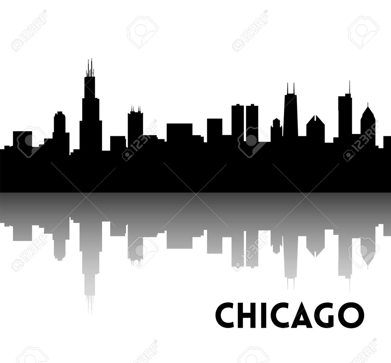 vector black silhouette of chicago skyline downtown with rh 123rf com Chicago Black and White Chicago Black and White