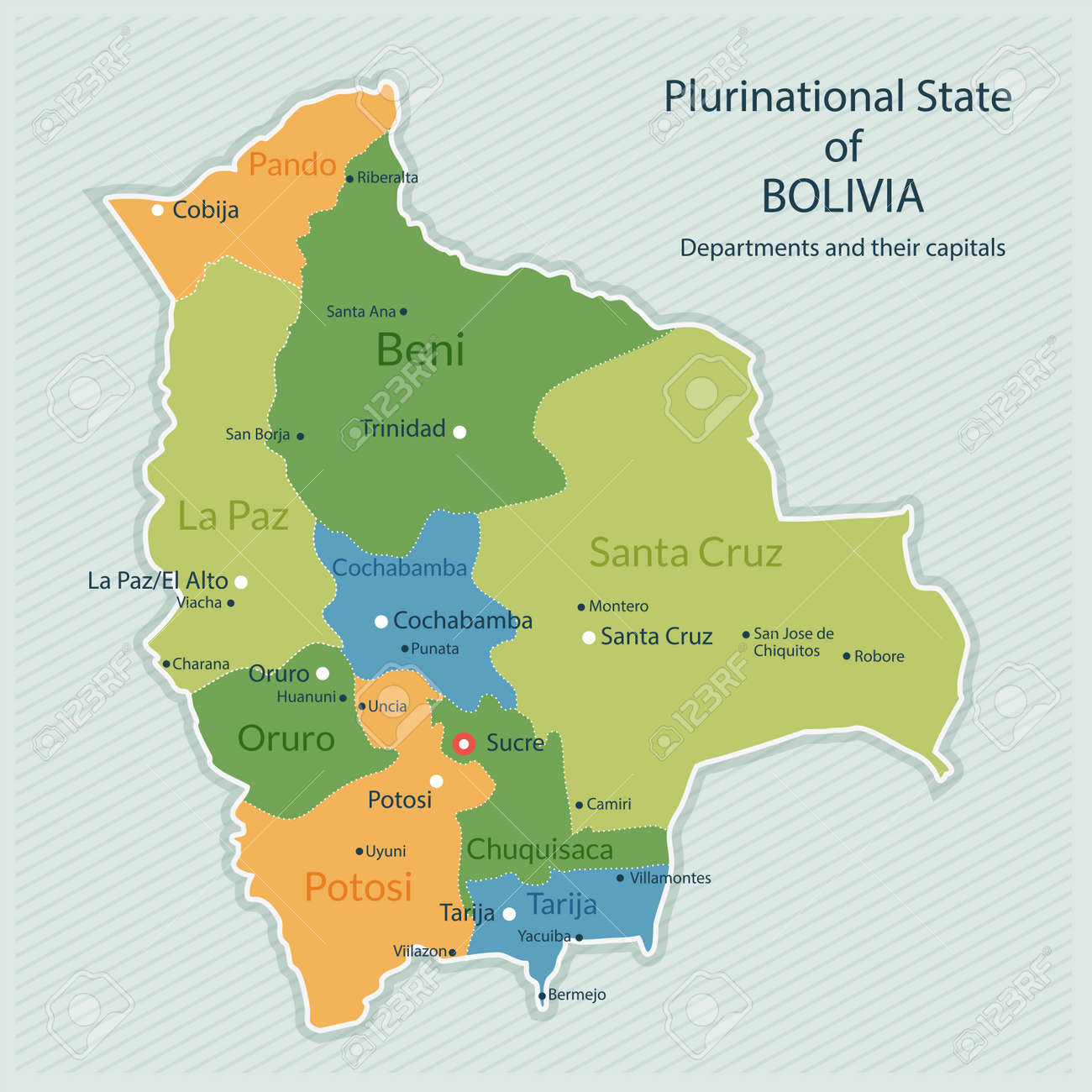 Illustration Of Administrative Map Of Bolivia Capital Of Country - Bolivia cities map