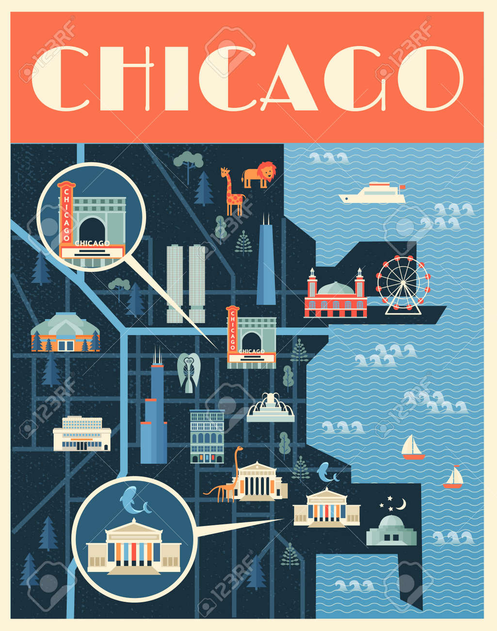 Vector Poster Illustration Of Map With Landmarks Of Chicago