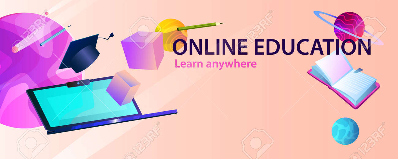 Horizontal Abstract Banner Online Education With Laptop Cubes Royalty Free Cliparts Vectors And Stock Illustration Image 143269689