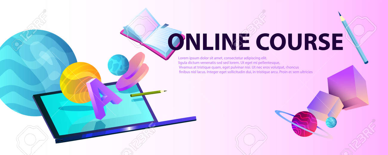 Horizontal Abstract Banner Online Education With Laptop Cubes Royalty Free Cliparts Vectors And Stock Illustration Image 143269463