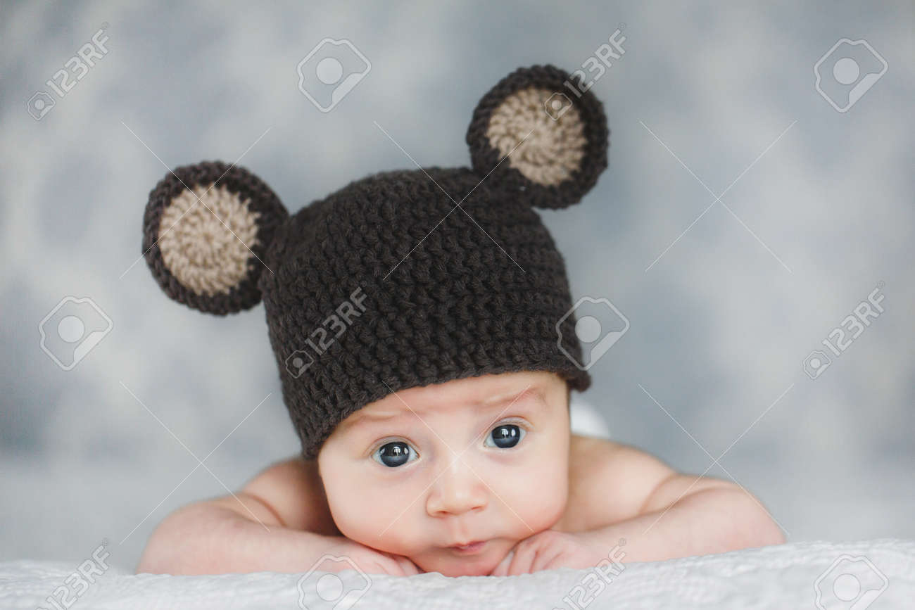 cbfe9d201c5 portrait of adorable Cute newborn baby boy in knitted hat Stock Photo -  27495282