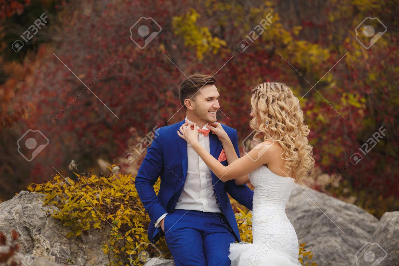 Die Braut Und Bräutigam - Die Fotografie Im Park. Bräutigam - Ein ...