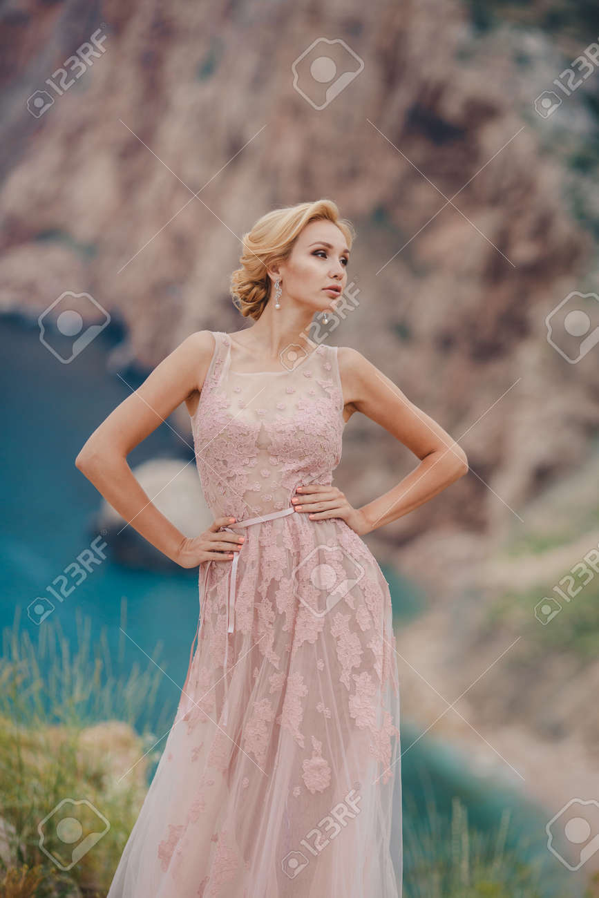 The Beautiful Woman The Blonde With Brown Eyes In A Wedding