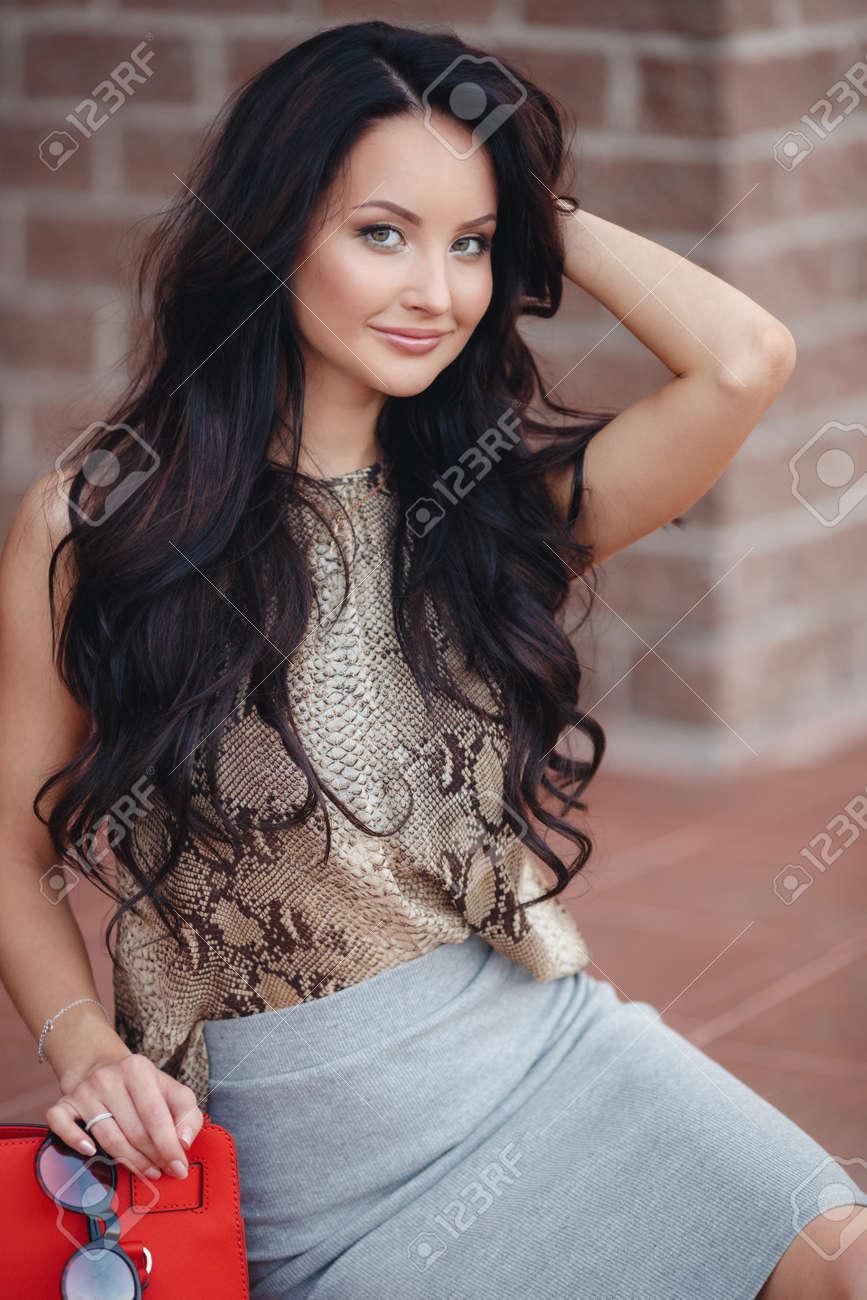 A Beautiful Young Woman Long Thick Brown Hair Gray Green Eyes