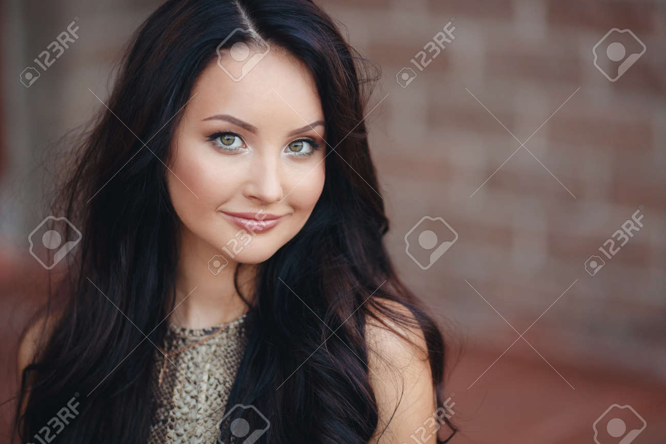A Beautiful Young Woman Long Thick Brown Hair Gray Green Eyes