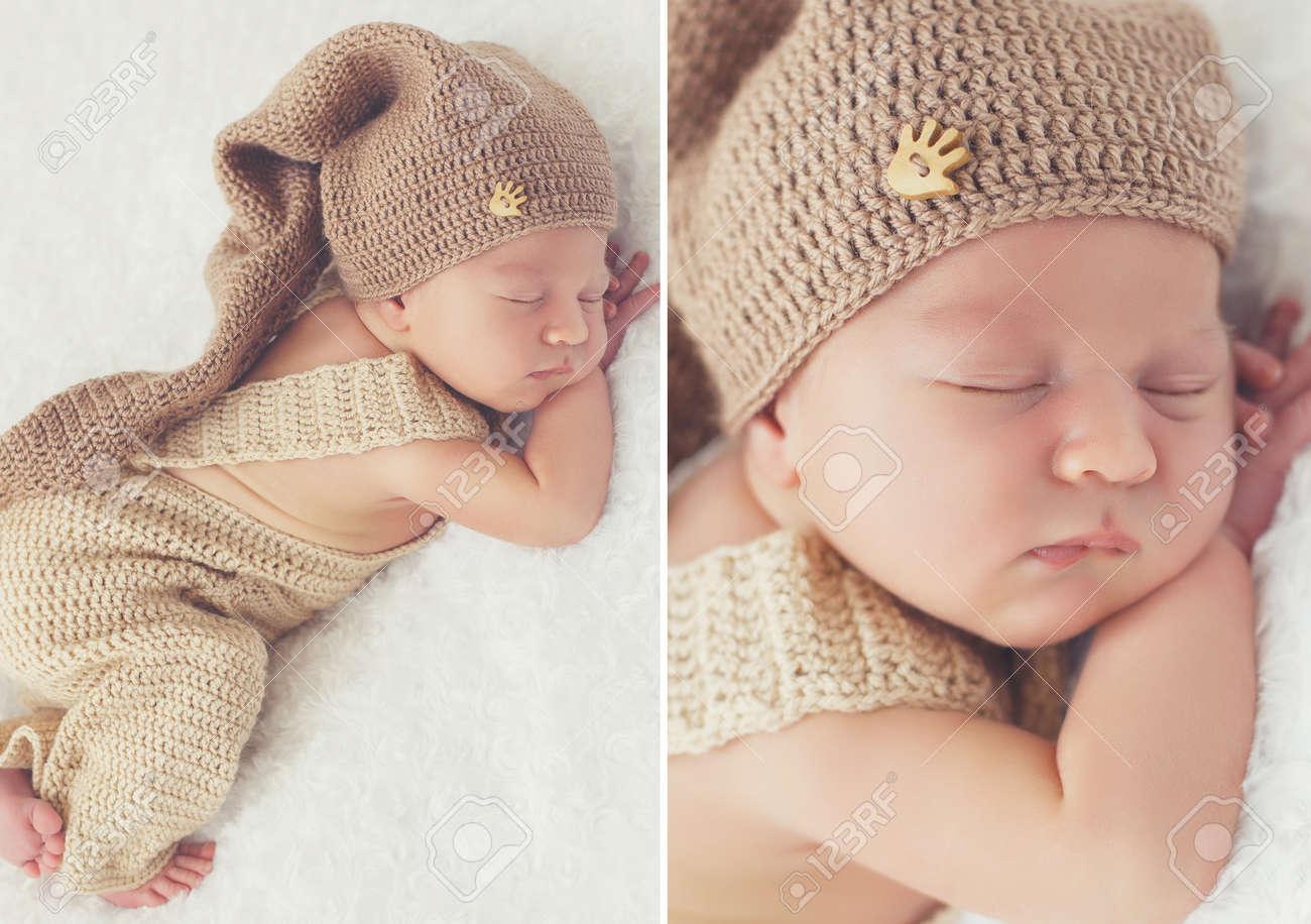 a86e5fe9a3331 Collage De Las Dos Fotos A Un Bebé Recién Nacido Durmiente En Un Sombrero  De Punto  Niño En La Manta Blanca En Ropa Para Bebés De Punto Beige Y Gorro  De ...