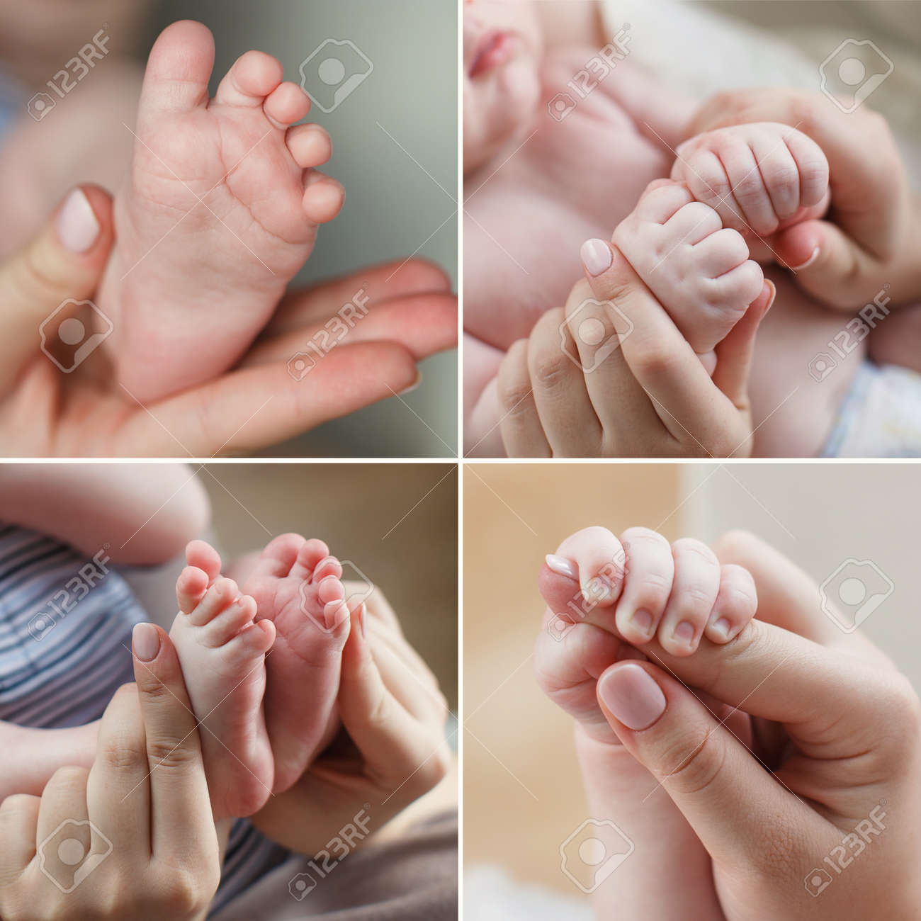 A collage of four photos the leg of the baby in mothers hands mothers hands holding little hands of a newborn the babys legs in a gentle mothers arms