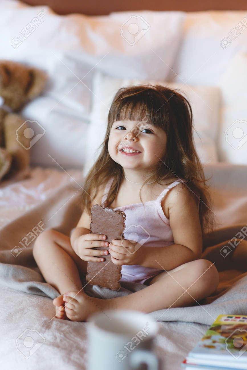 Happy Little Girl 3 Years Old Brunette With Long Hair And Straight