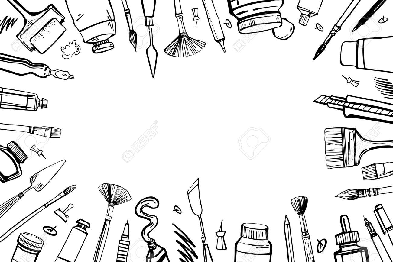 Frame with hand drawn sketch vector artist materials. Black and white stylized illustration with painting and drawing tools. Brushes, tubes, pens and pencils isolated on white background - 140120586