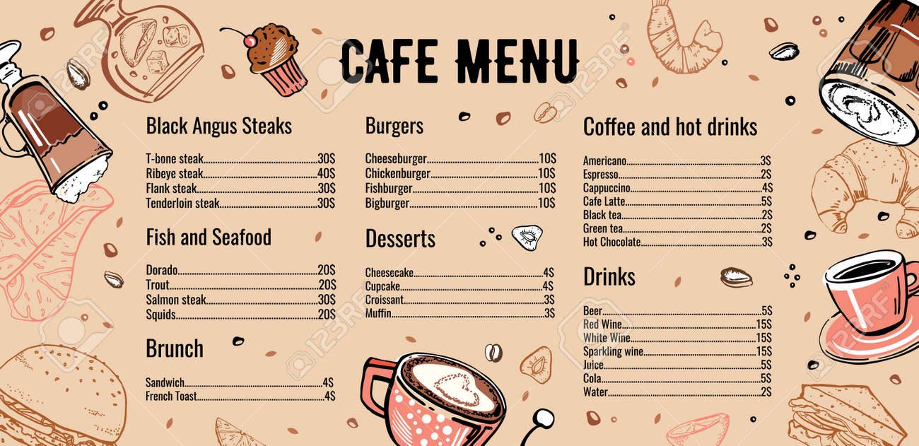 Cafe Menu Design Template With List Of Meat Fish Burgers Drinks