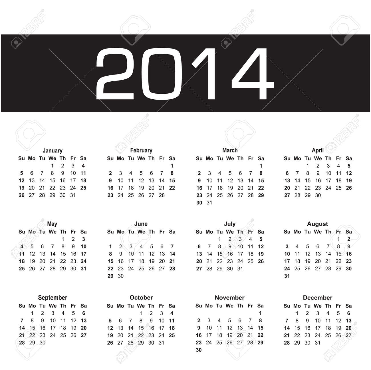 vector calendar 2014 black and white Stock Vector - 23111827