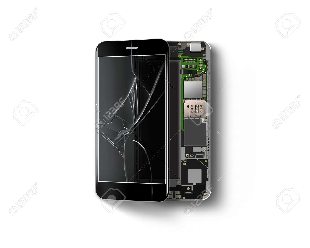 Broken phone inside isolated, chip, motherboard, processor, cpu
