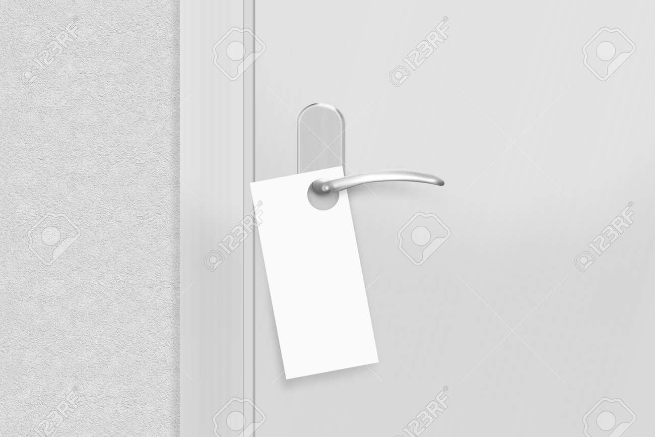 Door Knob With Blank Flyer Mock Up. Empty White Flier Mockup.. Stock ...