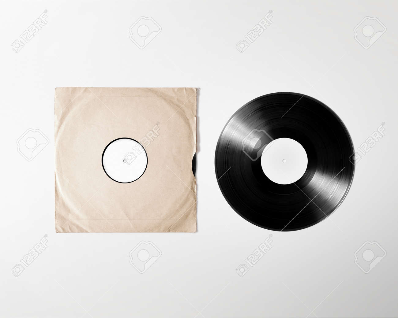 Blank vinyl album cover sleeve mockup, isolated