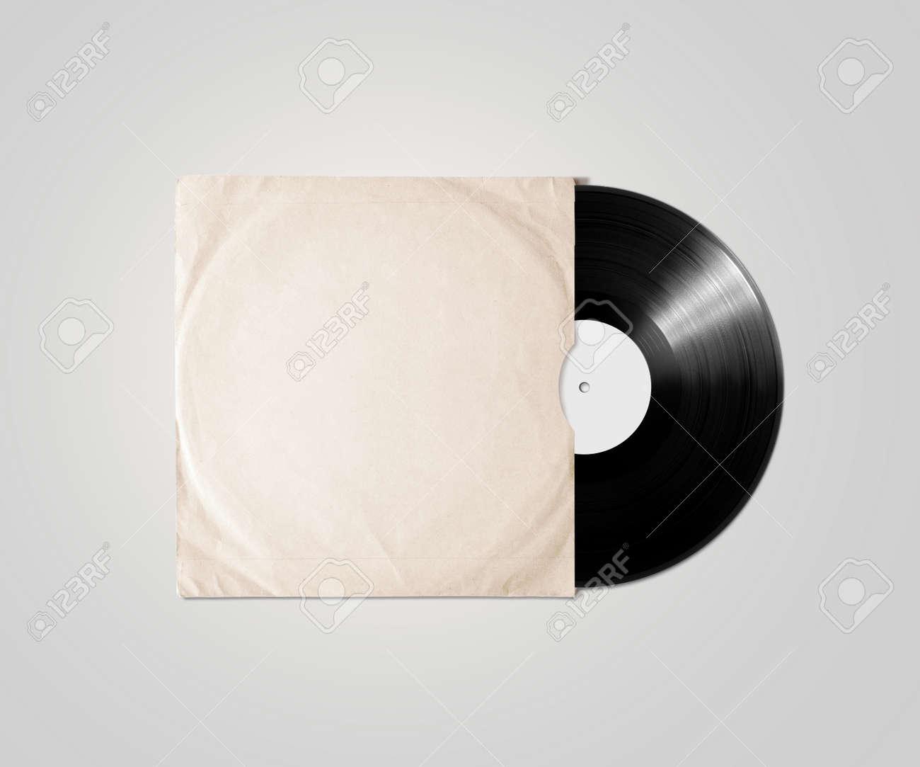 Blank Vinyl Album Cover Sleeve Mockup Isolated Gramophone Music