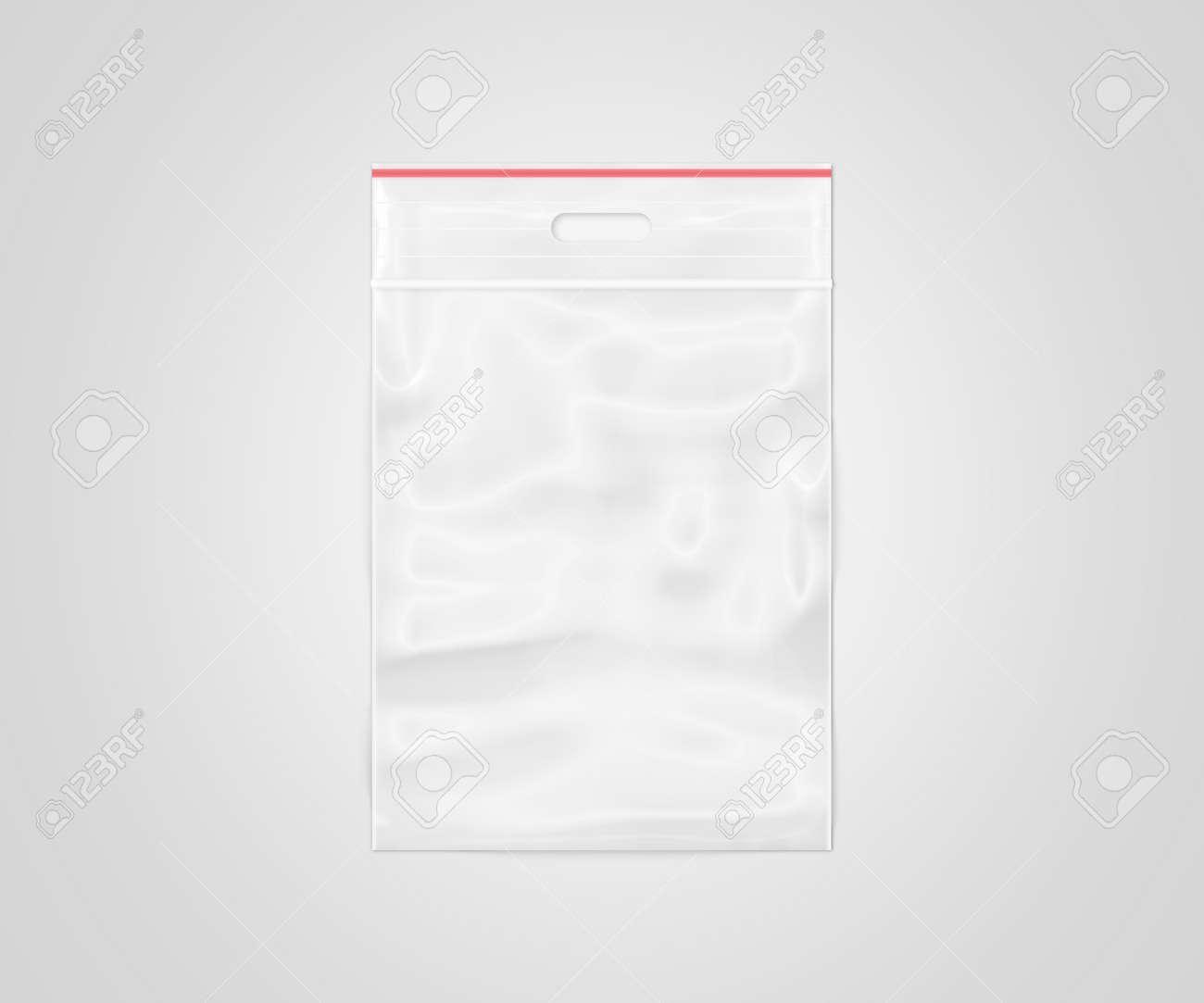 d4eebd5e4081a Illustration - Plastic transparent zipper bag isolated, 3d illustration.  Blank zip lock packaging design. Empty polythene sealed wrap. Clear pack  mock up.