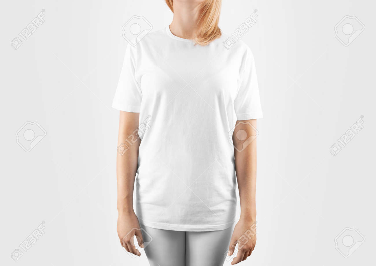 02996016eae Blank white t-shirt design mockup, isolated, clipping path. Women..