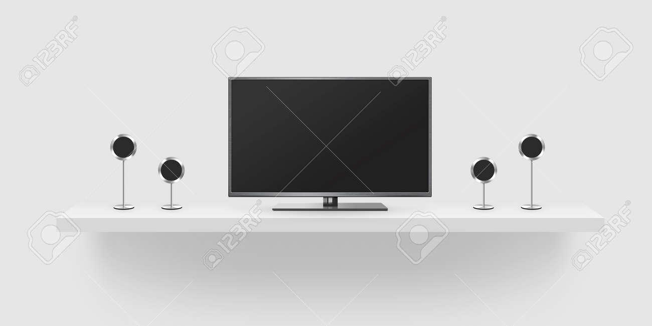 TV De Pantalla Plana LCD, Cine En Casa Ilustración Realista, Frente ...