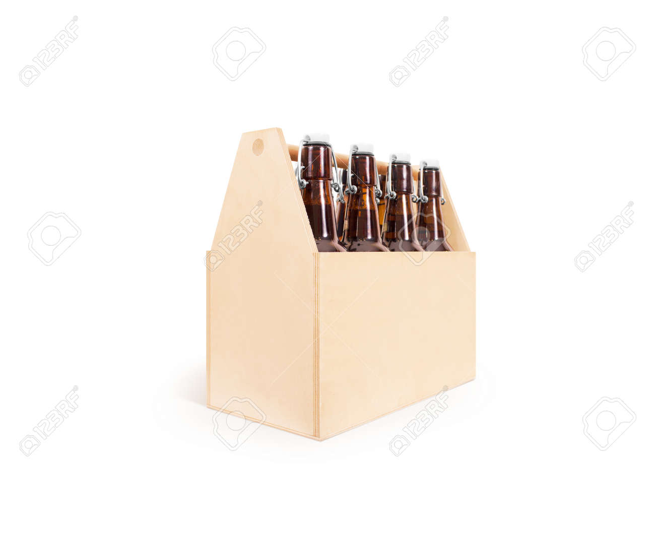Beer Wooden Box Side Mock Up Isolated Blank Wood Cold Beer