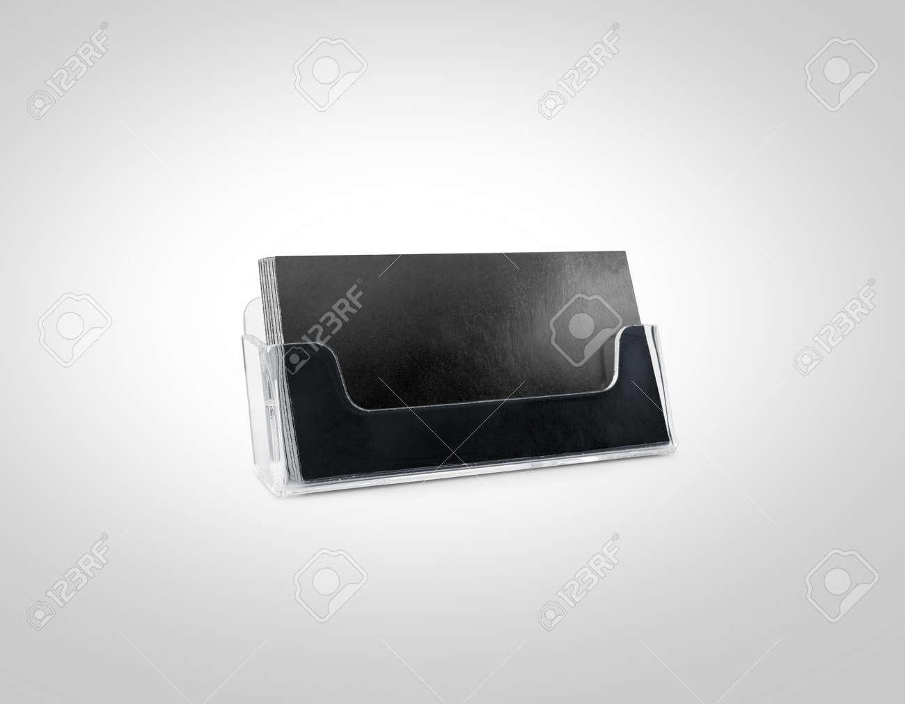Black Business Card Mockup Holder Isolated. Plastic Transparent ...