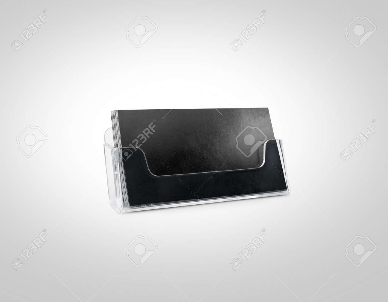 Carte De Visite Porte Maquette Noir Isole Plastique Transparent Nom La Boite Verre Appelant Cartes Vierges Identite Marque Du Titulaire
