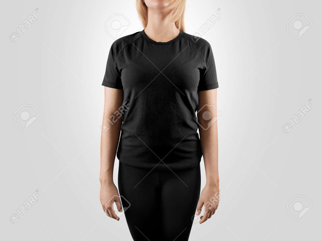 blank black t shirt design mockup isolated women tshirt clear