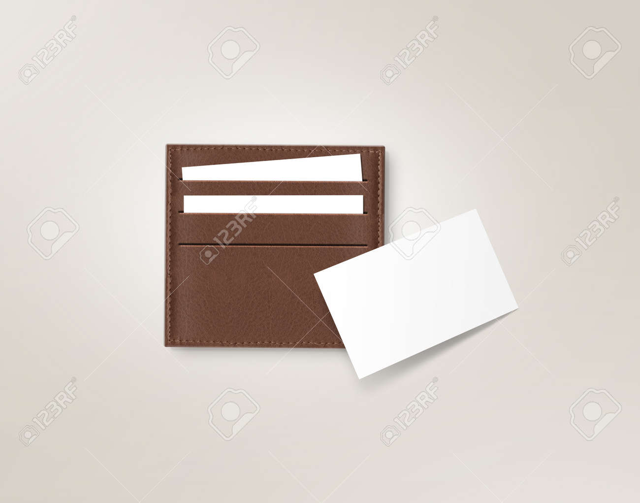 Brown leather card holder with blank white card mock up isolated brown leather card holder with blank white card mock up isolated on grey business credit colourmoves