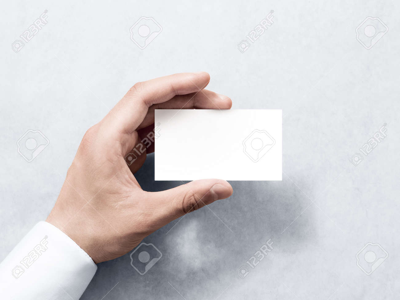Hand Hold Blank Plain White Business Card Design Mockup. Clear ...