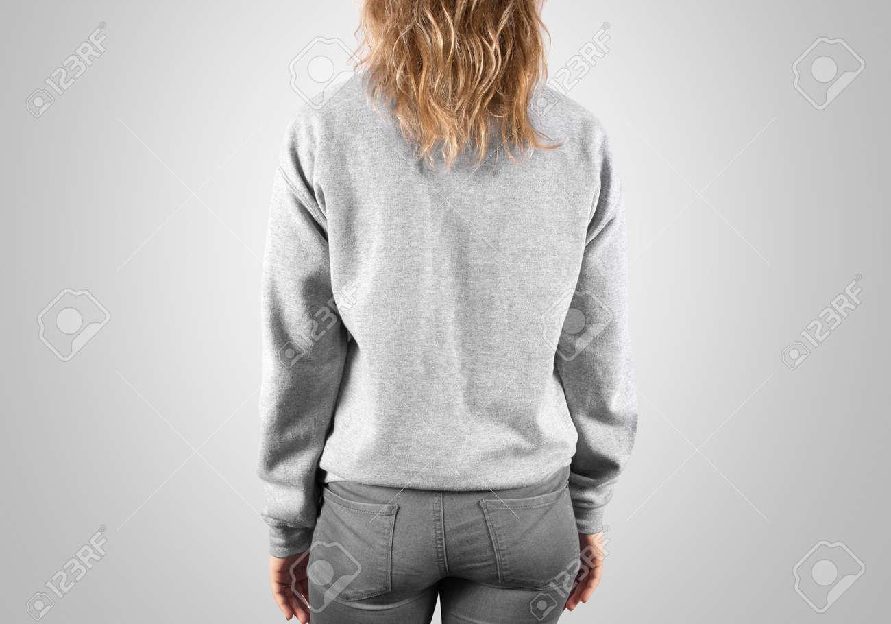b54c189dfcbdd Sweat-shirt Blanc Mock Up Back Vue De Côté, Isolé, Un Tracé De Détourage.  Femme Porter Une Maquette à Capuche. Présentation De Conception à Capuche.