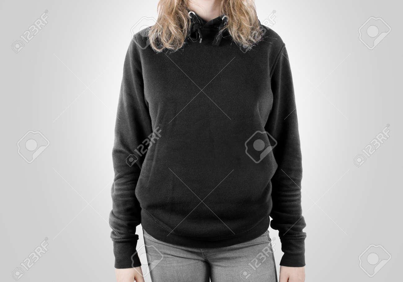 Blank Black Sweatshirt Mock Up Isolated. Female Wear Dark Hoodie ...