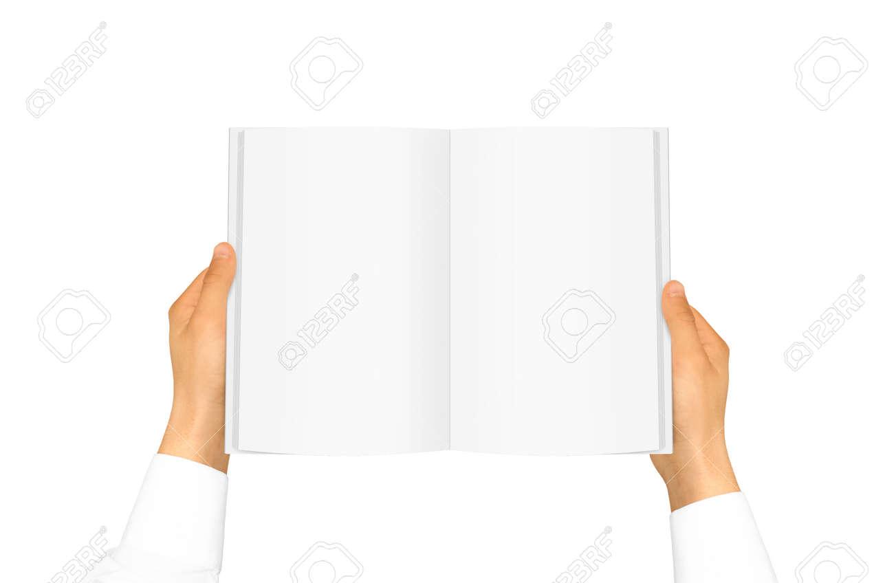 Hand In Weißem Hemd Ärmel Hält Leere Buch In Der Hand. Leere ...