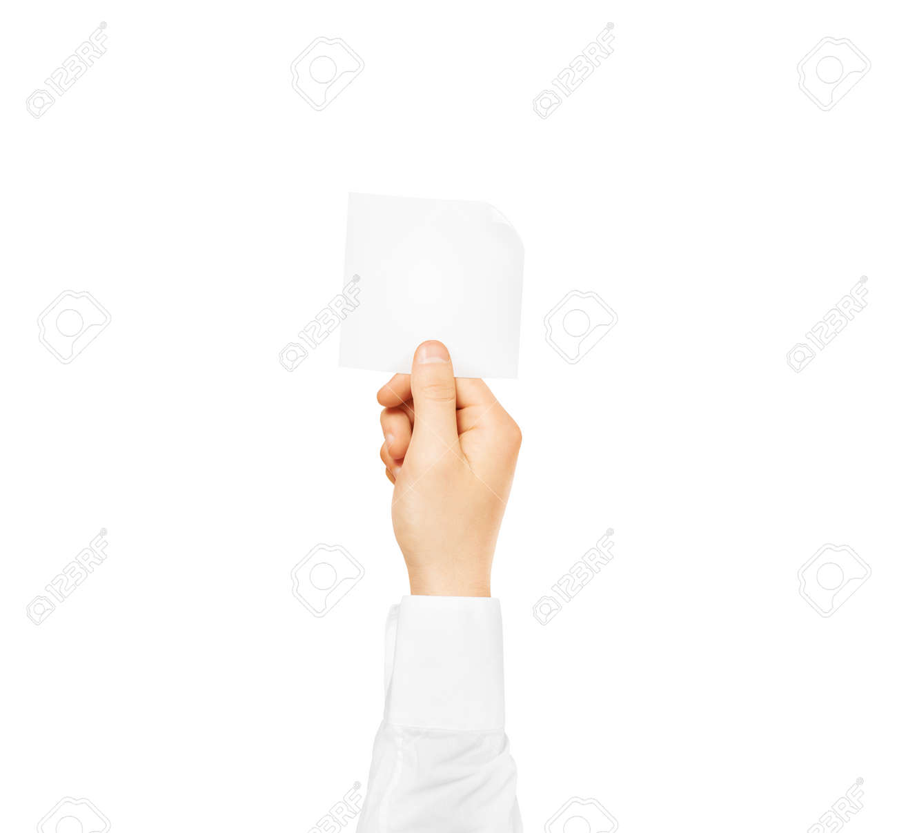 Hand holding square blank white sticker mock up isolated  Sticker