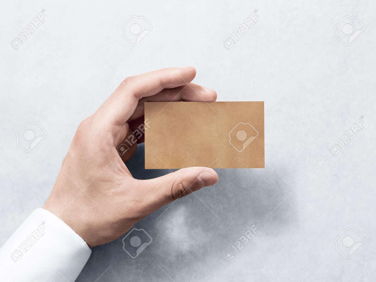 Hand Hold Blank Plain Kraft Business Card Design Mockup. Clear ...