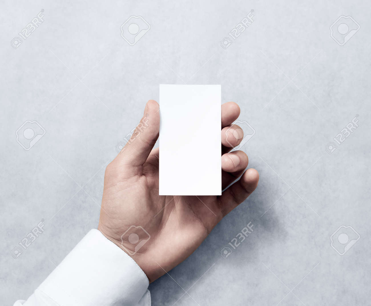 Hand Holding Blank Vertical White Business Card Design Mockup ...