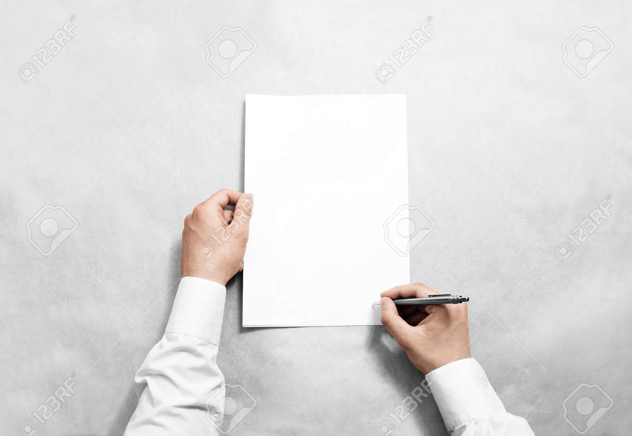 Hand Hold Blank Contract Mockup And Signing It. Stock Photo, Picture ...