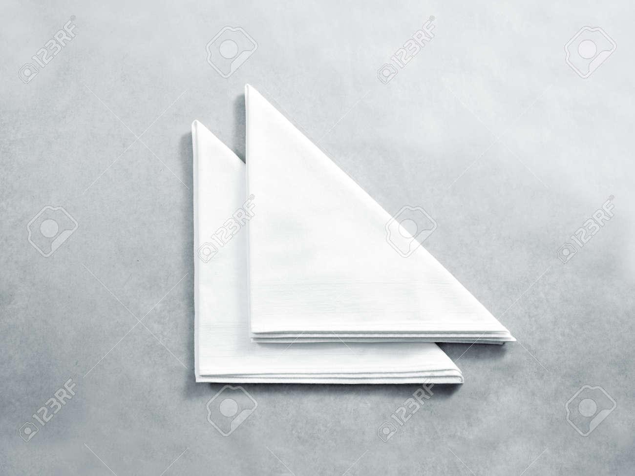Blank white restaurant napkin mock up, isolated  Clear folded