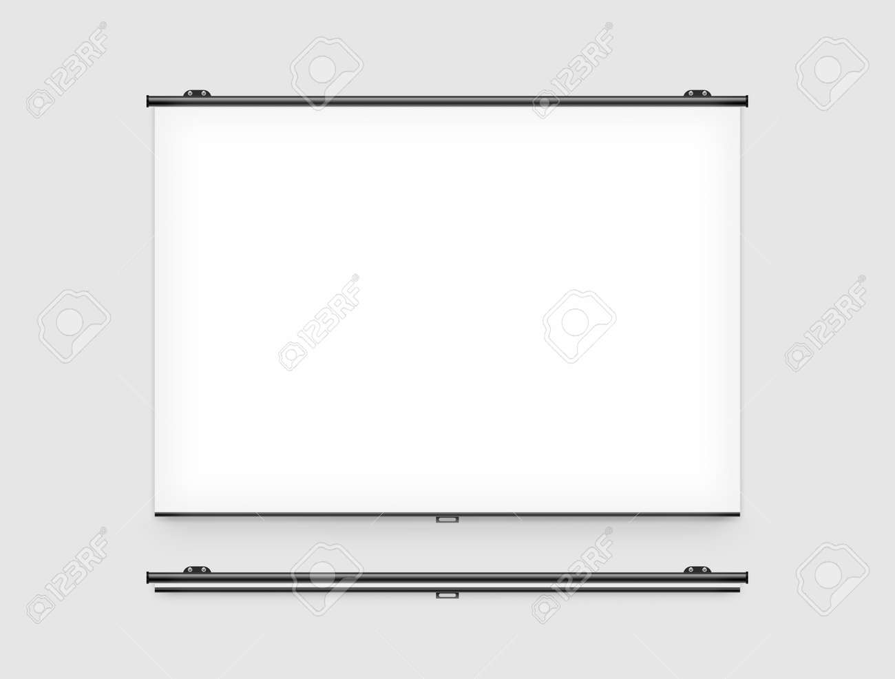 Blank projector screen mockup on the wall  Projector display