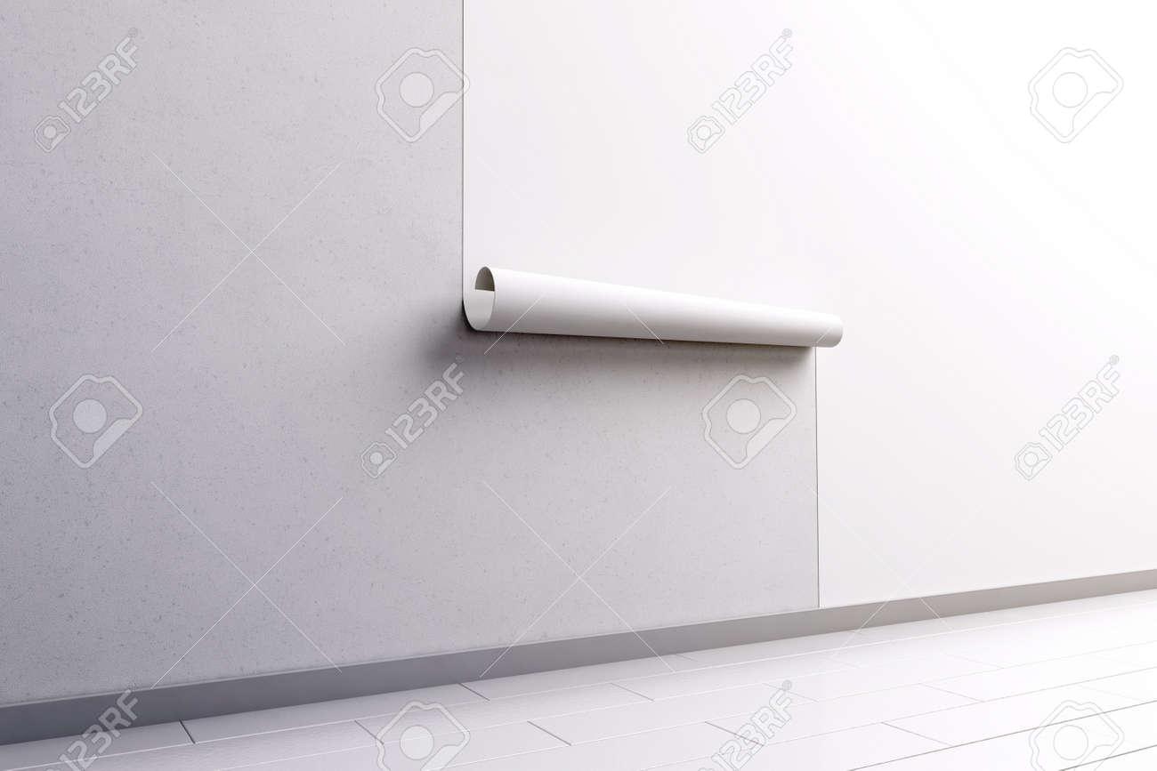 Leere Weiße Tapete An Der Wand Hängen Mock-up, Seitenansicht ...