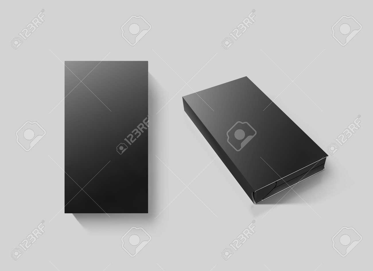 Blank Black Video Cassette Tape Box Mockup Set Isolated 3d Stock