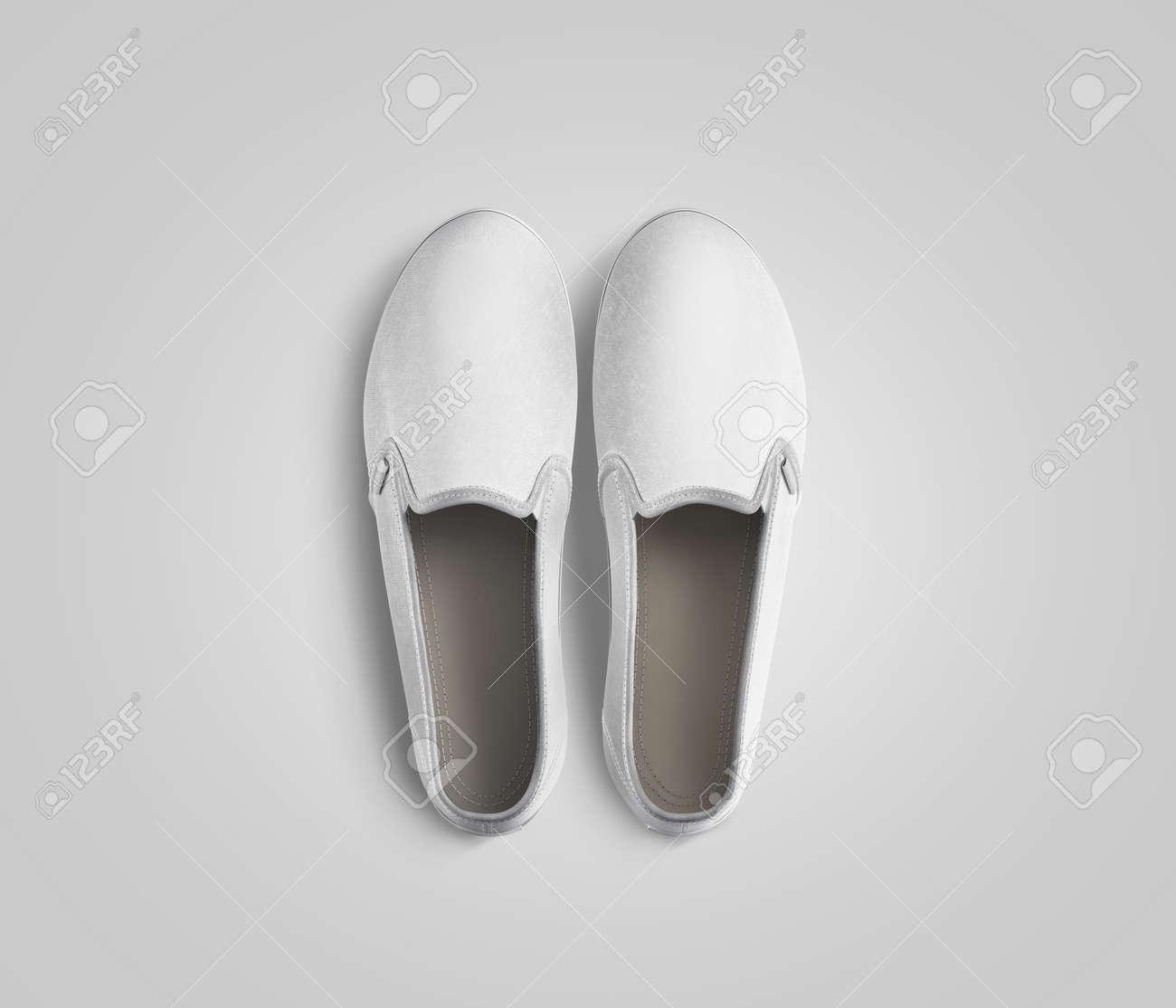 Leere Weiße Slip-on Schuhe Paar Design Mockup, Draufsicht, Clipping ...