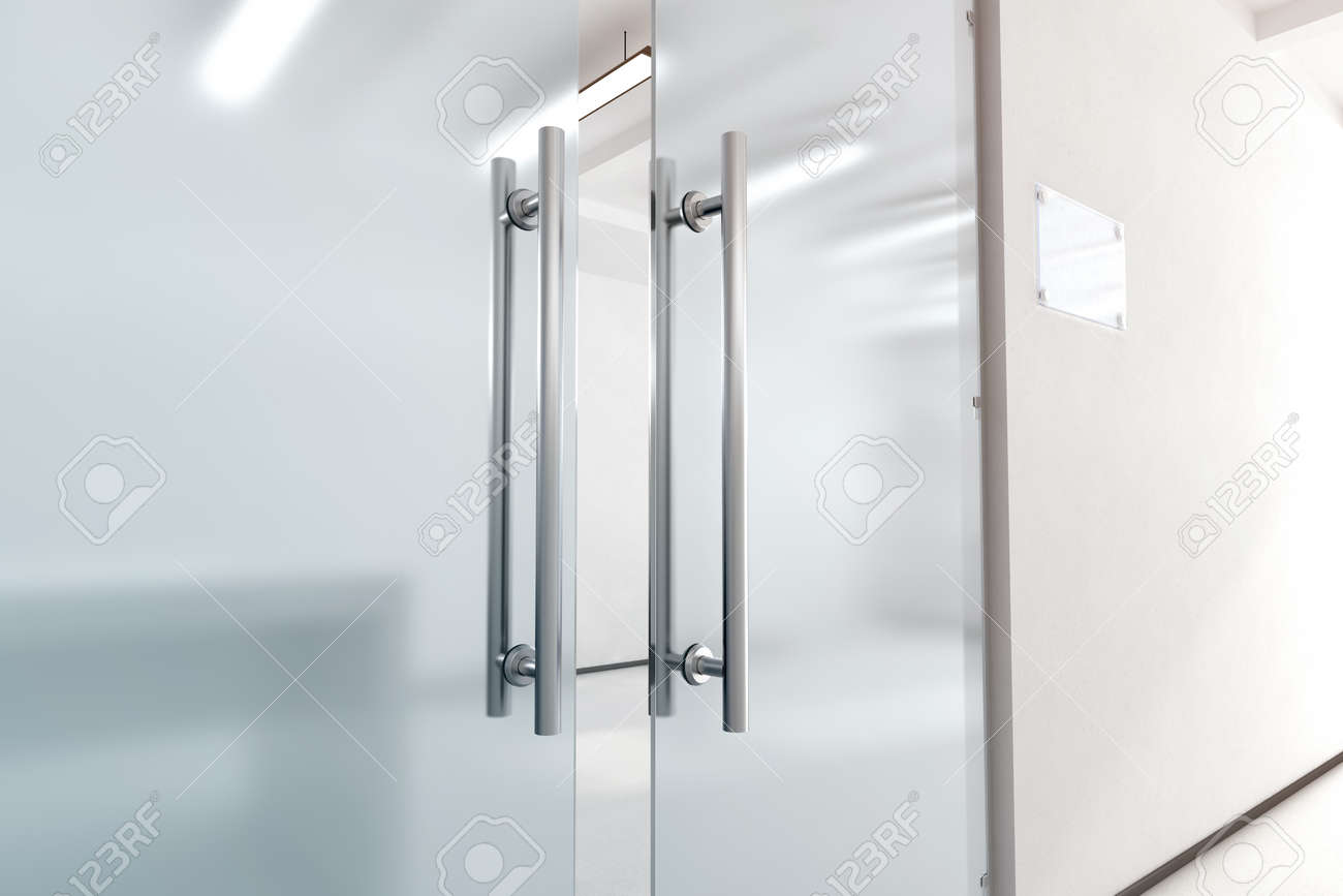 office glass door. Blank Glass Door With Metal Handles Mock Up, 3d Rendering. Office Entrance Space O